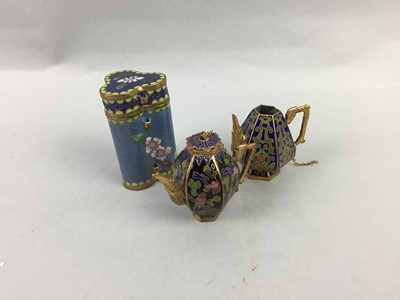 Lot 39 - A MINIATURE CLOISONNE TEA POT WITH COVER AND OTHER CERAMICS