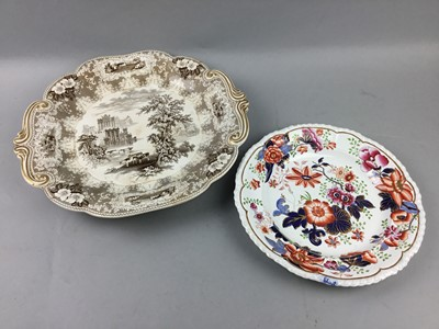 Lot 42 - A MID 19TH CENTURY ROGERS PALMA PATTERN MEAT DISH AND OTHER CERAMICS