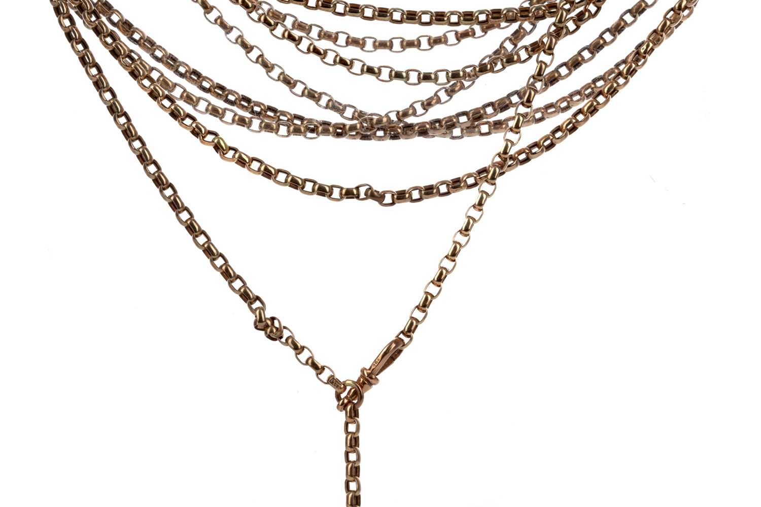 Lot 313 - A GOLD GUARD CHAIN AND A BRACELET