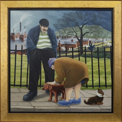 Lot 587 - DOG LOVERS, AN OIL BY VICKY MOUNT