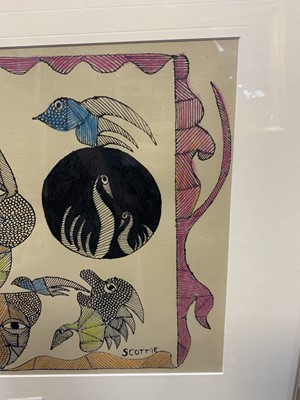 Lot 582 - ABSTRACT OF MASKS WITH BIRDS AND FISH, AN INK AND CRAYON BY SCOTTIE WILSON