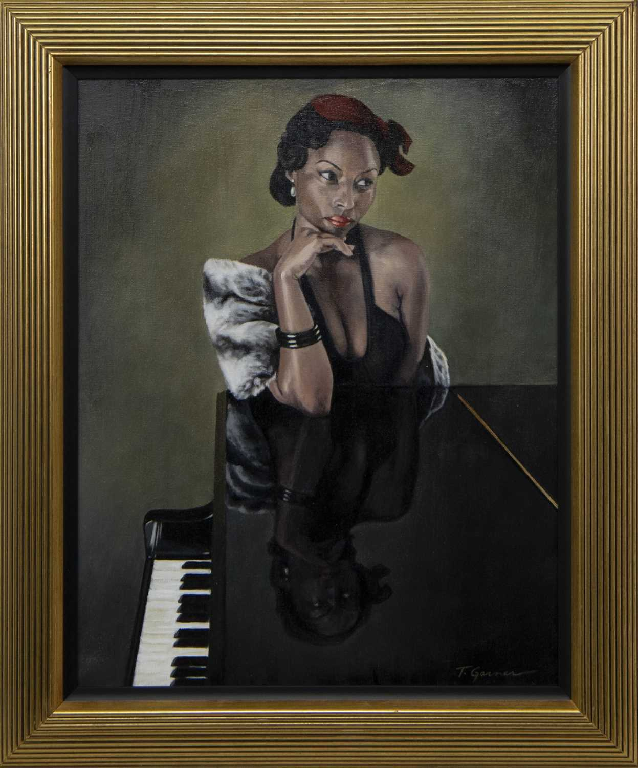 Lot 584 - REFLECTIONS ON A PIANO, AN OIL BY TODD GARNER