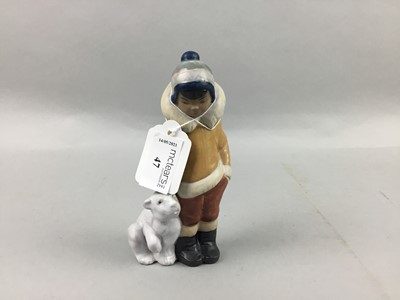 Lot 47 - A LLADRO FIGURE GROUP OF A CHILD AND A POLAR BEAR CUB
