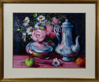 Lot 608 - STILL LIFE WITH APPLE AND TEAPOT, AN OIL BY MARY GALLAGHER