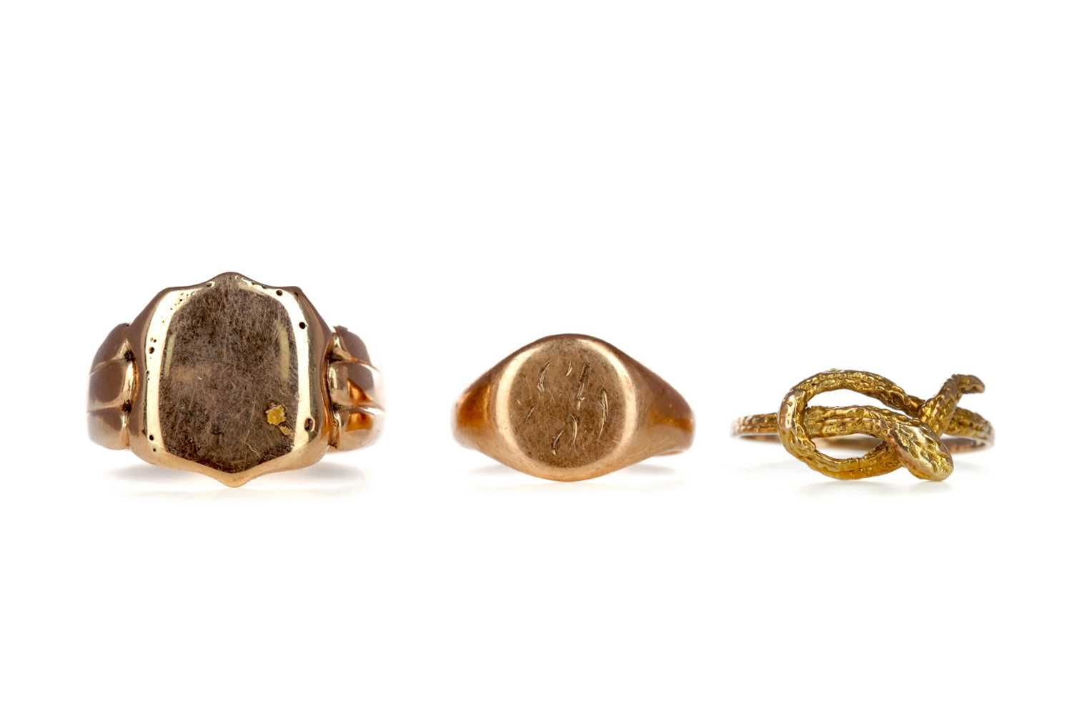 Lot 321 - TWO SIGNET RINGS AND A SERPENT RING