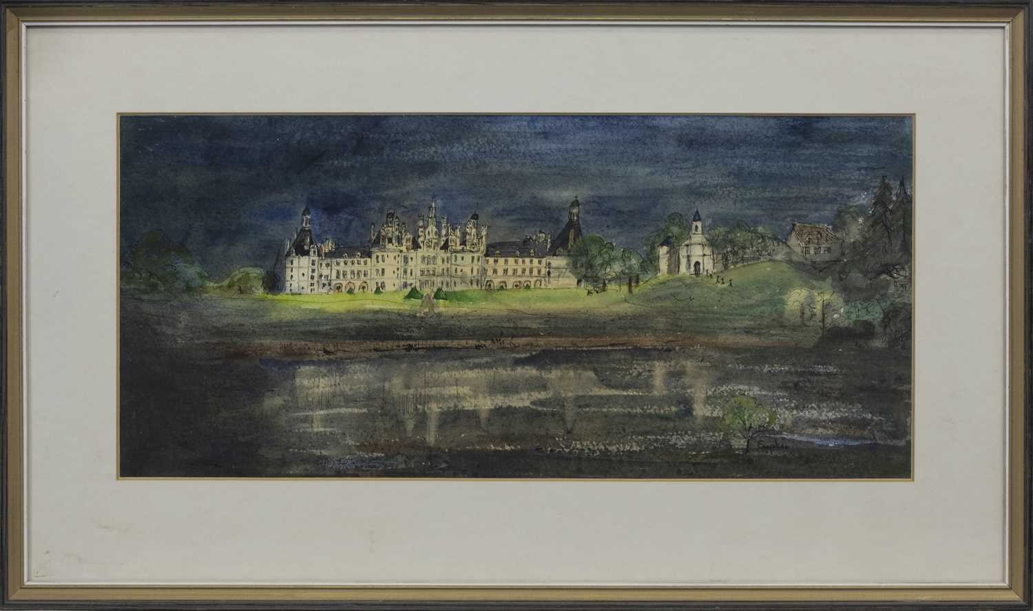 Lot 564 - CHATEAU CHAMBORD FLOODLIT, A MIXED MEDIA ON PAPER BY EUPHEN ALEXANDER
