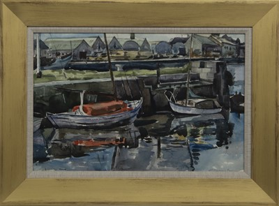 Lot 51 - BOATS IN LOCK, A WATERCOLOUR BY WILLIAM MARSHALL BROWN