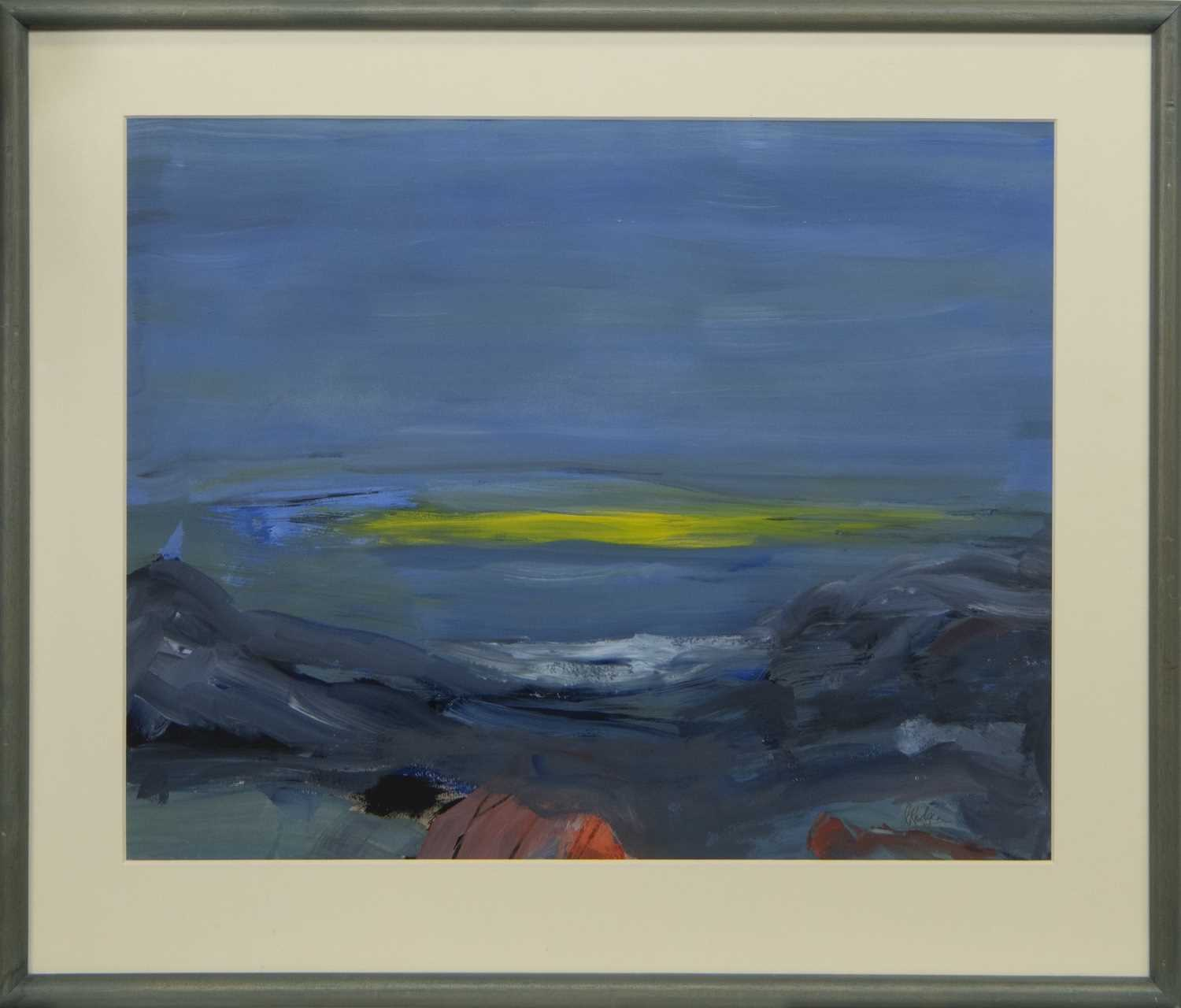 Lot 565 - SOLWAY SUNSET, A GOUACHE BY JEAN RODGER