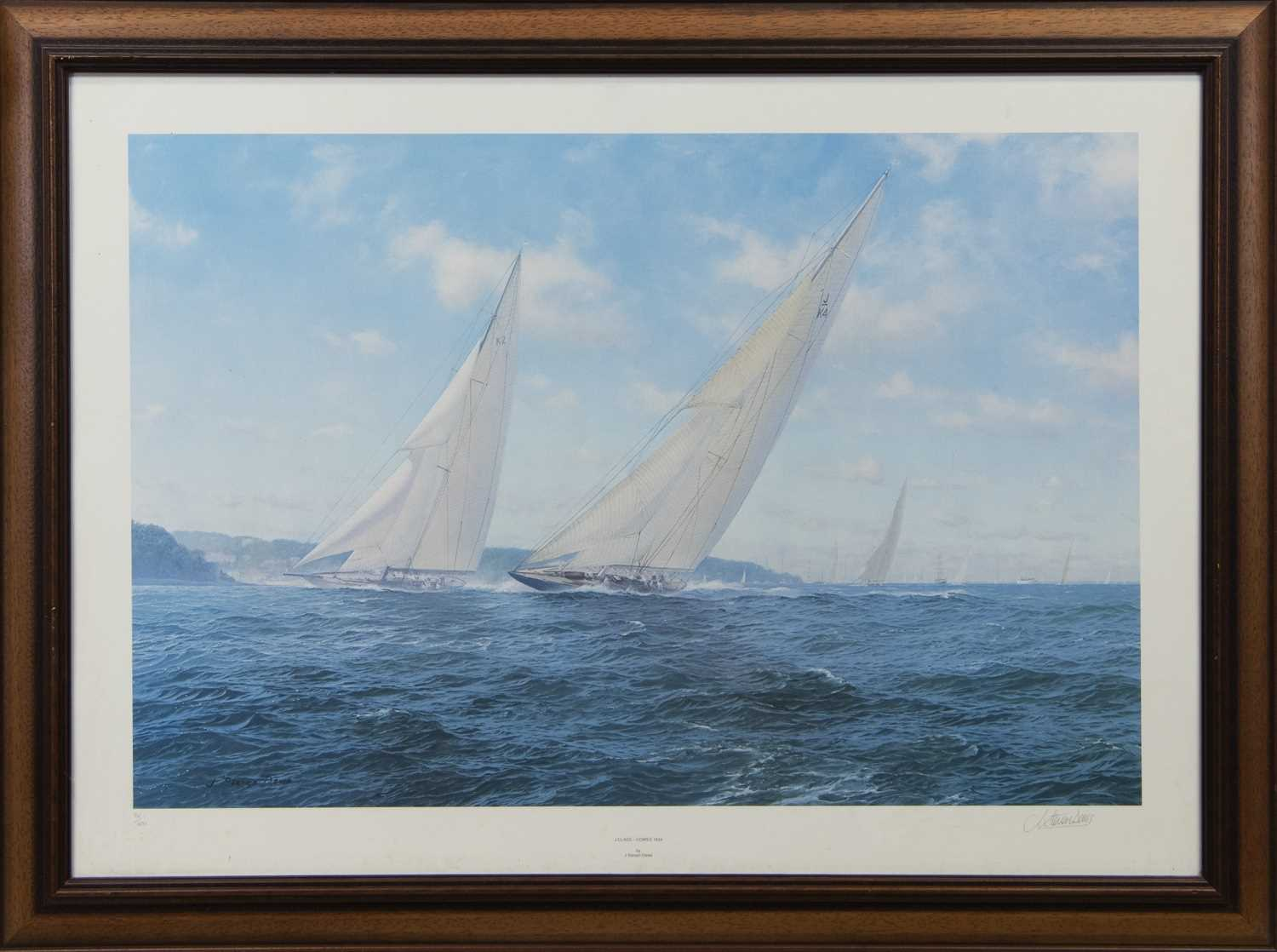 Lot 567 - J CLASS - COWES 1934, A SIGNED LIMITED EDITION PRINT BY J. STEVEN DEWS
