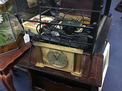 Lot 20 - A MAGAZINE RACK AND MANTEL CLOCK, ALONG WITH OTHER ITEMS