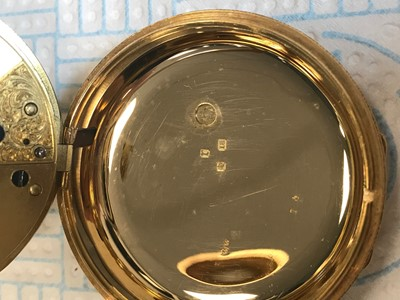 Lot 720 - AN EIGHTEEN CARAT GOLD CASED OPEN FACE POCKET WATCH