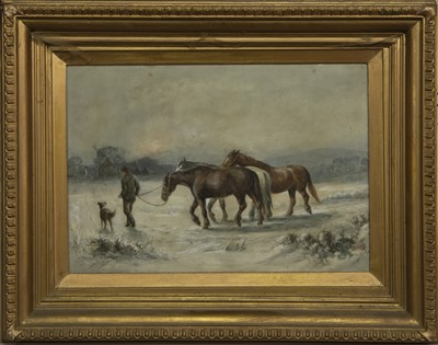 Lot 9 - HORSES IN A SNOW COVERED FIELD, A WATERCOLOUR BY CHRISTOPHER MEADOWS