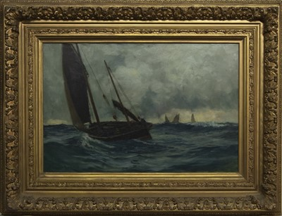 Lot 13 - WINTER AND ROUGH WEATHER, AN OIL BY ANDREW BLACK