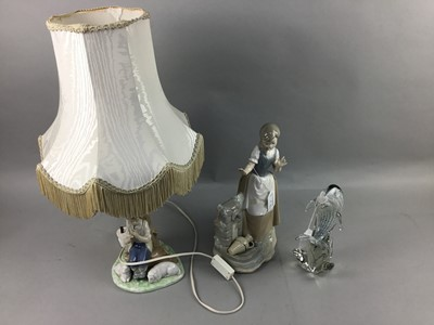 Lot 1 - A NAO FIGURE OF A GIRL, NAO LAMP, GLASS DOLPHIN AND PART CANTEEN