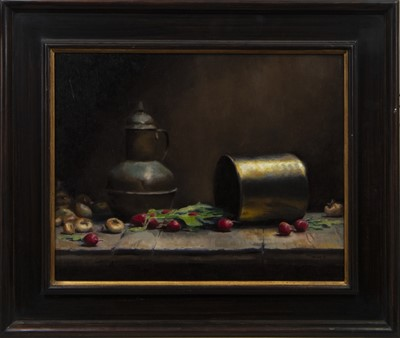 Lot 609 - STILL LIFE WITH RADISHES, AN OIL BY TMW