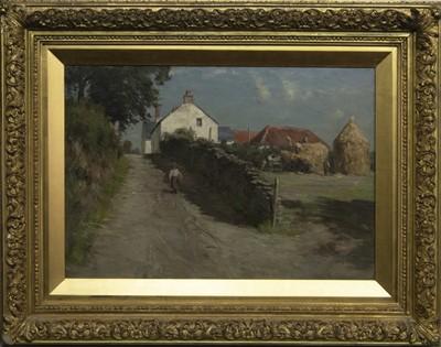 Lot 19 - AN EAST LOTHIAN FARMSTEAD, AN OIL BY JAMES RIDDEL