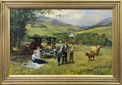 Lot 610 - THE HOME OF MR. & MRS. ROBIN BROCK, WITH GRANDCHILDREN AND MODEL T'S, AN OIL BY ALAN FEARNLEY