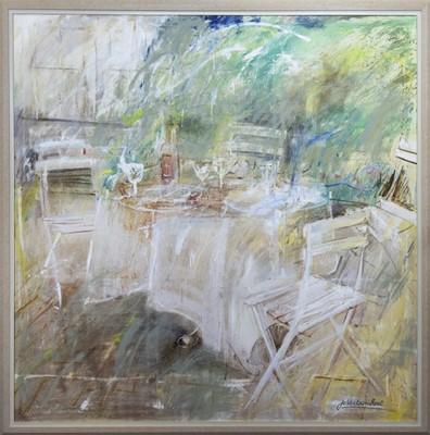 Lot 617 - OUTDOOR CAFE, A LARGE OIL BY JO VANTOURNHOUT
