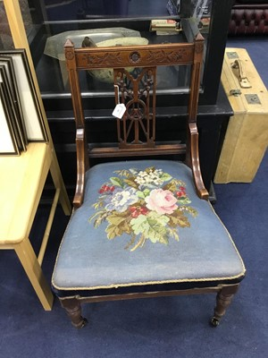 Lot 39 - A LATE VICTORIAN CARVED WOOD GOSSIP CHAIR