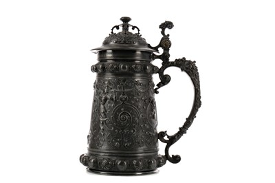 Lot 1752 - A LATE 19TH CENTURY WMF PEWTER TANKARD