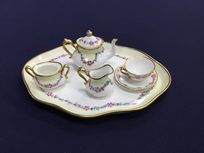 Lot 57 - A CROWN STAFFORDSHIRE MINIATURE TEA SET, ALONG WITH OTHER CERAMICS