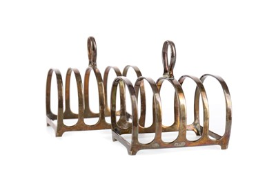 Lot 475 - A PAIR OF SILVER TOAST RACKS