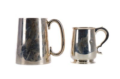 Lot 477 - A LOT OF TWO SILVER TANKARDS