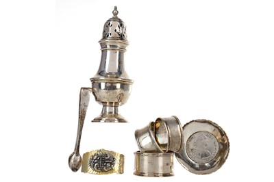 Lot 482 - A SILVER SUGAR CASTER AND OTHER ITEMS