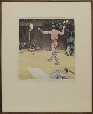 Lot 31 - THE TIGHTROPE, A WOODBLOCK PRINT BY MABEL ALINGTON ROYDS