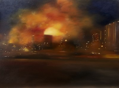 Lot 635 - ATMOSPHERIC LIGHTS, AN OIL BY LESLEY ANNE DERKS