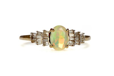 Lot 340 - AN OPAL AND DIAMOND RING