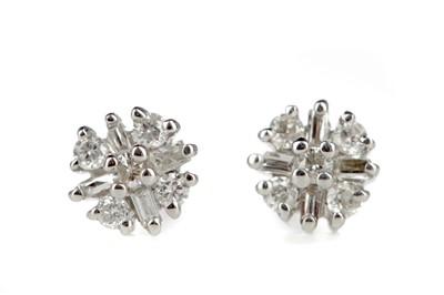 Lot 352 - A PAIR OF DIAMOND CLUSTER EARRINGS