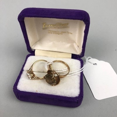 Lot 45 - A NINE CARAT GOLD DRESS RING AND ANOTHER