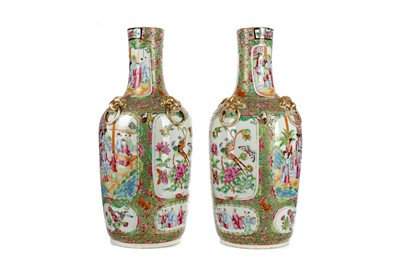 Lot 707 - A PAIR OF CHINESE FAMILLE ROSE VASES