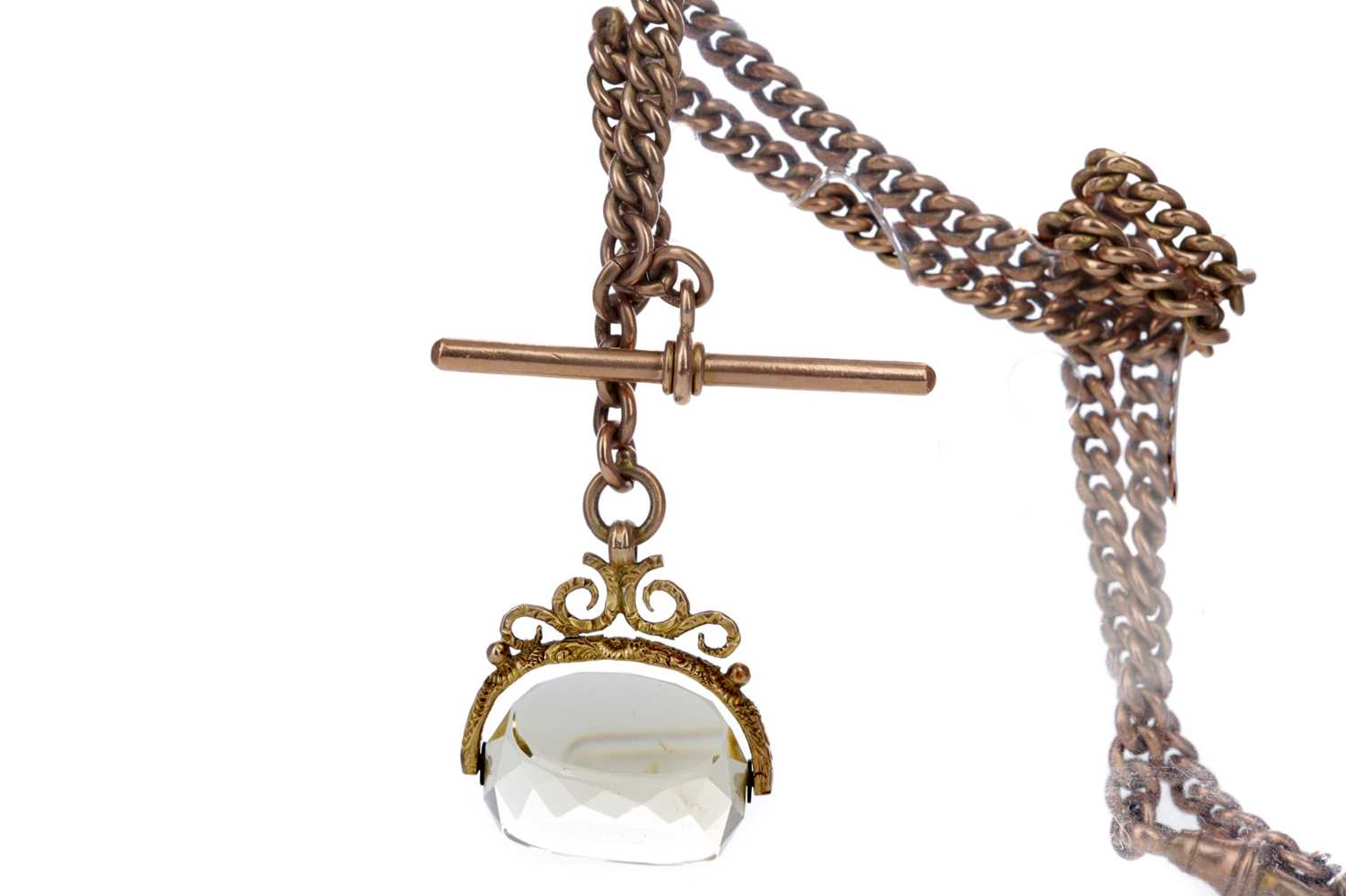 Lot 377 - A DOUBLE ALBERT CHAIN WITH SWIVEL FOB