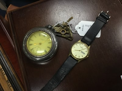 Lot 42 - A SILVER CASED KEY WIND POCKET WATCH AND OTHERS