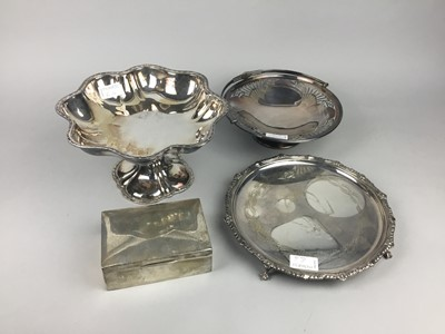 Lot 6 - A SILVER CIGARETTE CASKET AND PLATED WARE