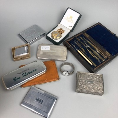 Lot 25 - A PLATED CIGARETTE CASE, POCKET WATCH, INSTRUMENTS AND OTHER ITEMS