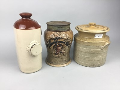 Lot 90 - A STONEWARE HOT WATER BOTTLE AND TWO OTHERS