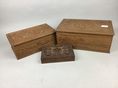 Lot 88 - A LOT OF THREE CARVED WOOD TRINKET BOXES