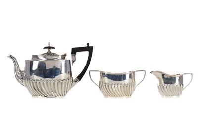 Lot 485 - A VICTORIAN SILVER THREE PIECE BACHELOR'S TEA SERVICE