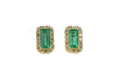 Lot 430 - A PAIR OF EMERALD AND DIAMOND EARRINGS