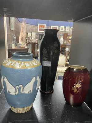 Lot 71 - A ROYAL DOULTON VASE AND TWO OTHERS