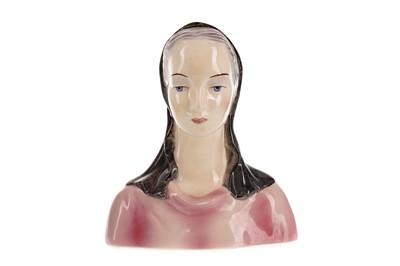 Lot 1055 - AN ART DECO GOLDSCHEIDER PORCELAIN BUST OF A LADY