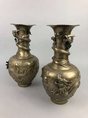 Lot 13 - A PAIR OF CHINESE BRONZE VASES