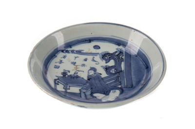 Lot 1680 - A LATE 19TH CENTURY CHINESE BLUE AND WHITE PLATE