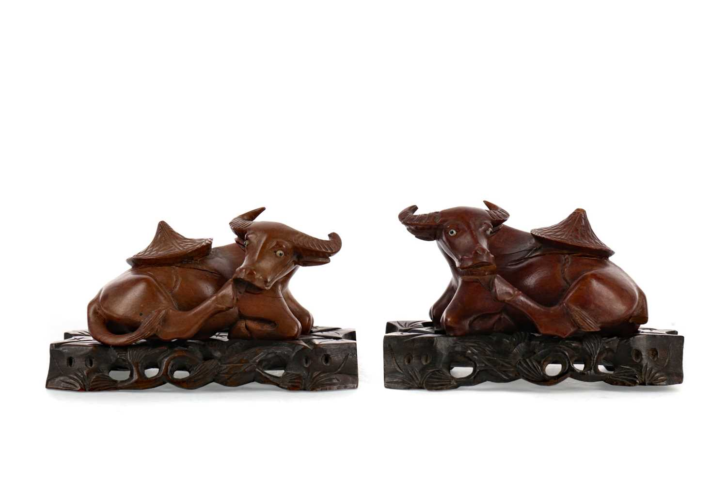 Lot 1700 - A LOT OF TWO 20TH CENTURY CHINESE CARVED WOOD CRAVINGS OF BUFFALO