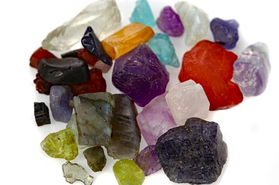 Lot 435 - **A COLLECTION OF ROUGH UNMOUNTED GEMSTONES