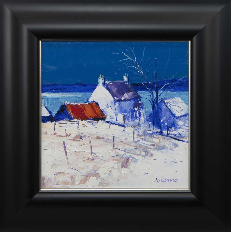 Lot 642 - HEAVY SNOWFALL GRIBUN, MULL, AN OIL BY JOLOMO