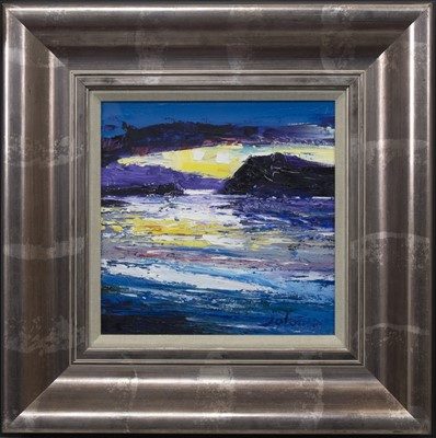 Lot 643 - WINTER EVENING TOBERMORY, MULL, AN OIL BY JOLOMO